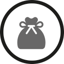 collection in rolling containers or laundry bags icon